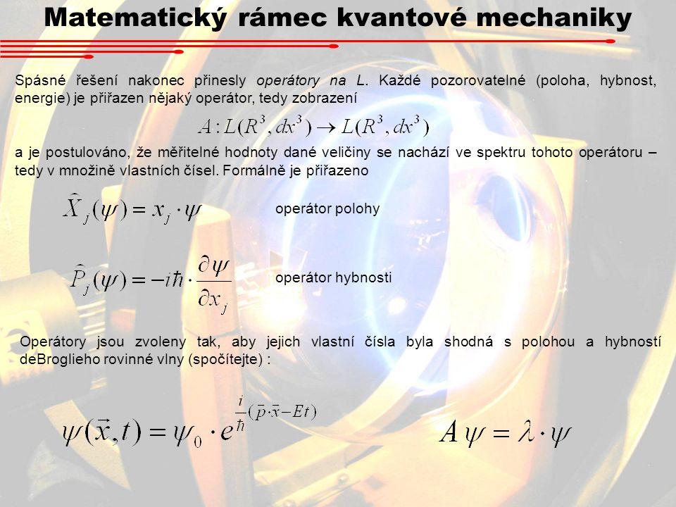 Matematický rámec kvantové mechaniky Spásné řešení nakonec přinesly operátory na L.