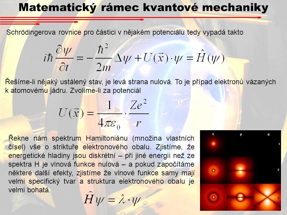 Matematický rámec kvantové mechaniky Schrödingerova rovnice pro částici v nějakém potenciálu tedy vypadá takto Řešíme-li nějaký ustálený stav, je levá strana nulová.