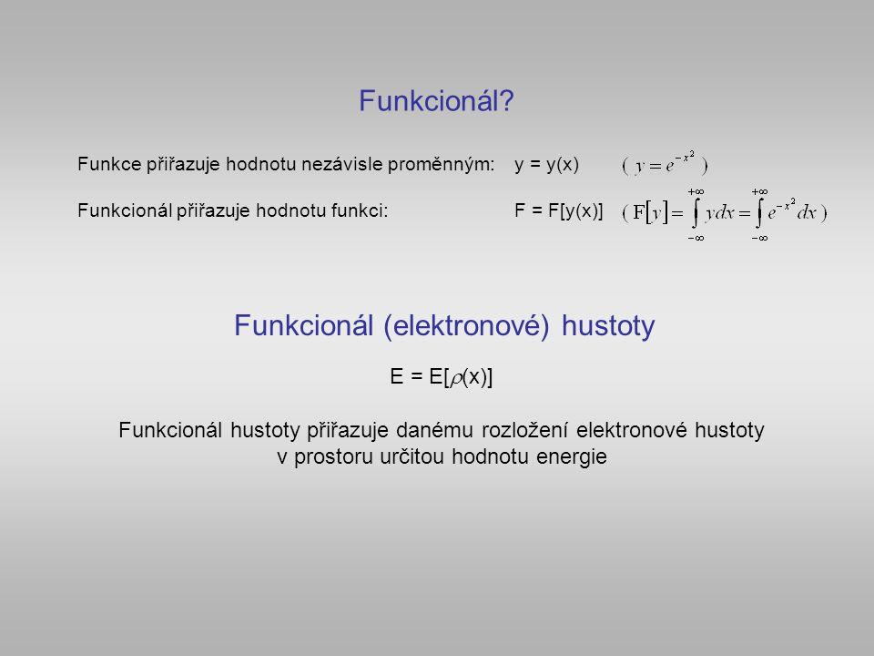 Hohenberg-Kohnův teorém (1964) Energie systému v základním stavu je jednoznačným funkcionálem hustory F HK [  ].