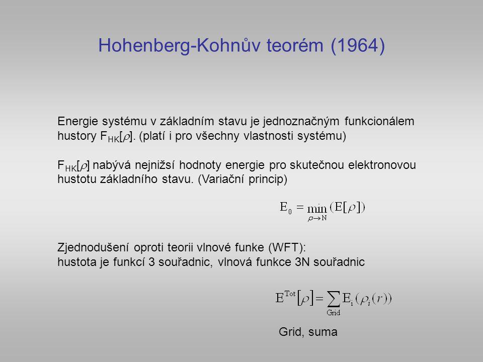 Hohenberg-Kohnův teorém (1964) Energie systému v základním stavu je jednoznačným funkcionálem hustory F HK [  ]. (platí i pro všechny vlastnosti syst