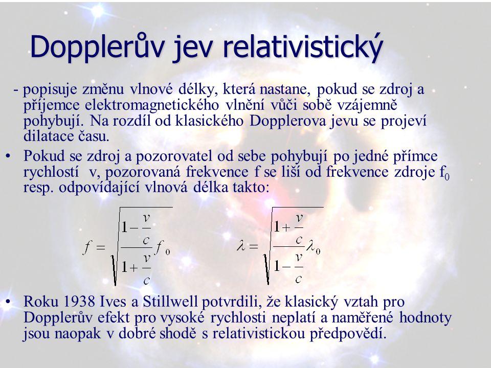 Dopplerův jev relativistický - popisuje změnu vlnové délky, která nastane, pokud se zdroj a příjemce elektromagnetického vlnění vůči sobě vzájemně pohybují.