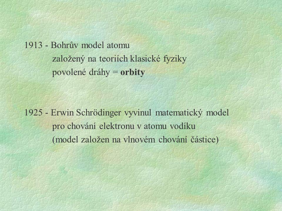 1913 - Bohrův model atomu založený na teoriích klasické fyziky povolené dráhy = orbity 1925 - Erwin Schrödinger vyvinul matematický model pro chování