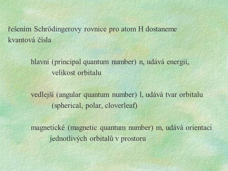 řešením Schrödingerovy rovnice pro atom H dostaneme kvantová čísla hlavní (principal quantum number) n, udává energii, velikost orbitalu vedlejší (ang