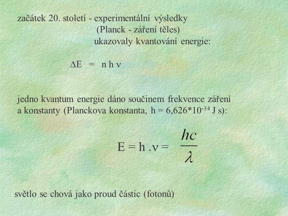 E = h. = začátek 20. století - experimentální výsledky (Planck - záření těles) ukazovaly kvantování energie:  E = n h jedno kvantum energie dáno souč
