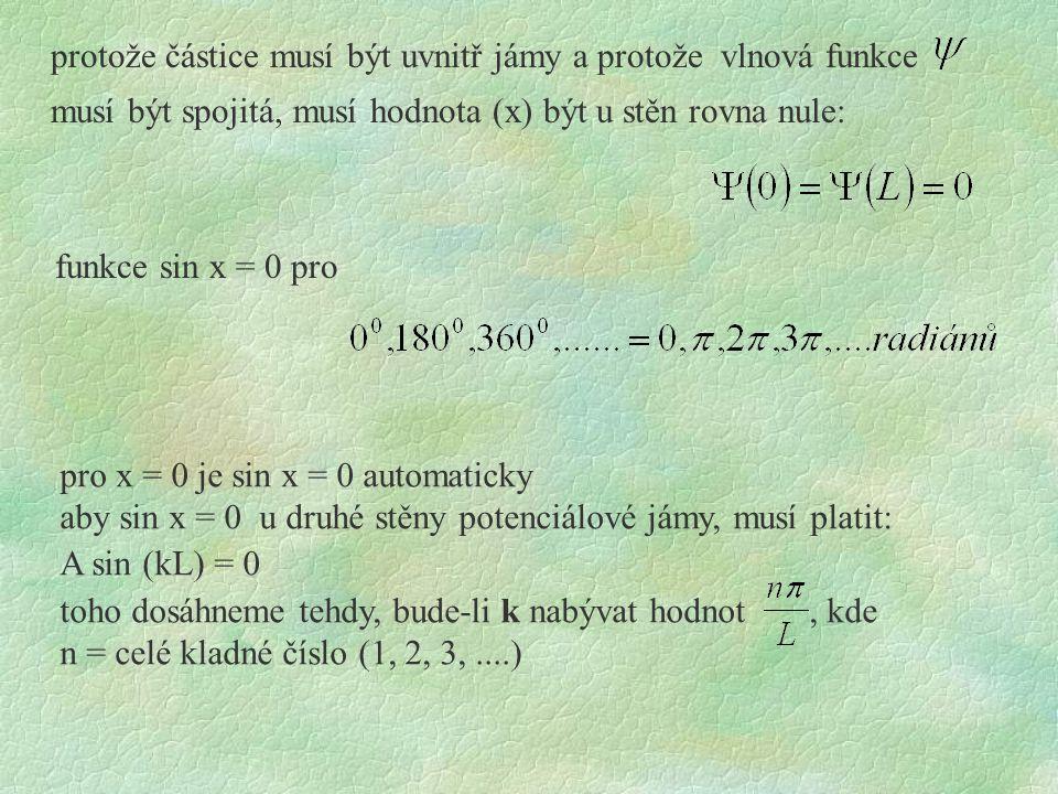 protože částice musí být uvnitř jámy a protože vlnová funkce musí být spojitá, musí hodnota (x) být u stěn rovna nule: funkce sin x = 0 pro pro x = 0