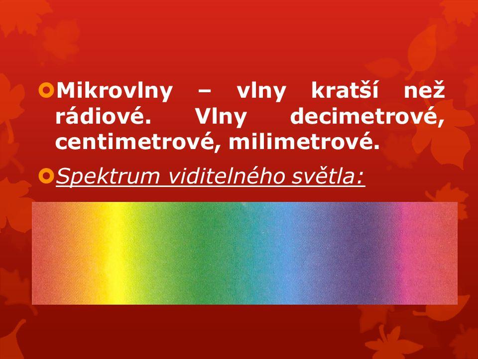  Mikrovlny – vlny kratší než rádiové. Vlny decimetrové, centimetrové, milimetrové.  Spektrum viditelného světla: