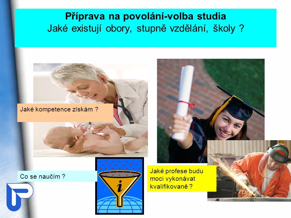 Příprava na povolání-volba studia Jaké existují obory, stupně vzdělání, školy .