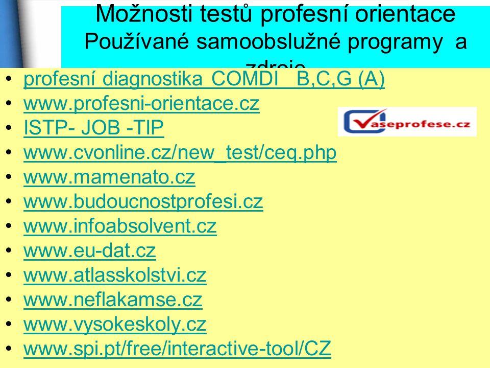 Možnosti testů profesní orientace Používané samoobslužné programy a zdroje profesní diagnostika COMDI B,C,G (A) www.profesni-orientace.cz ISTP- JOB -TIP www.cvonline.cz/new_test/ceq.php www.mamenato.cz www.budoucnostprofesi.cz www.infoabsolvent.cz www.eu-dat.cz www.atlasskolstvi.cz www.neflakamse.cz www.vysokeskoly.cz www.spi.pt/free/interactive-tool/CZ