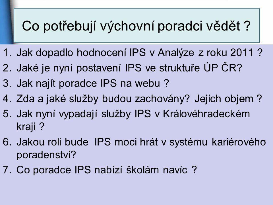 Co potřebují výchovní poradci vědět .1.Jak dopadlo hodnocení IPS v Analýze z roku 2011 .