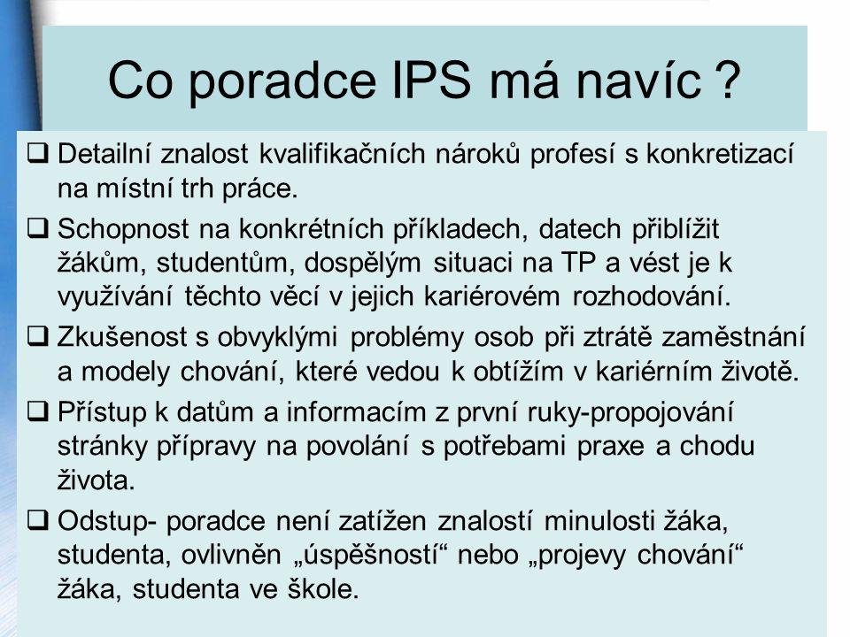 Co poradce IPS má navíc .