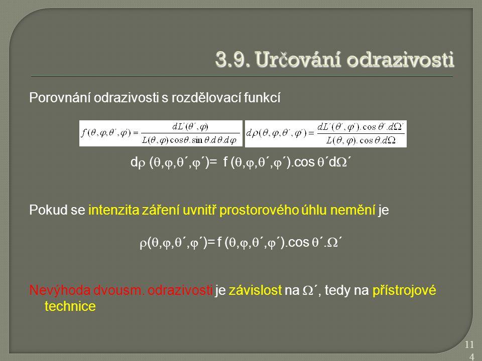 Porovnání odrazivosti s rozdělovací funkcí d  ( , ,  ´,  ´)= f ( , ,  ´,  ´).cos  ´d  ´ Pokud se intenzita záření uvnitř prostorového úhlu
