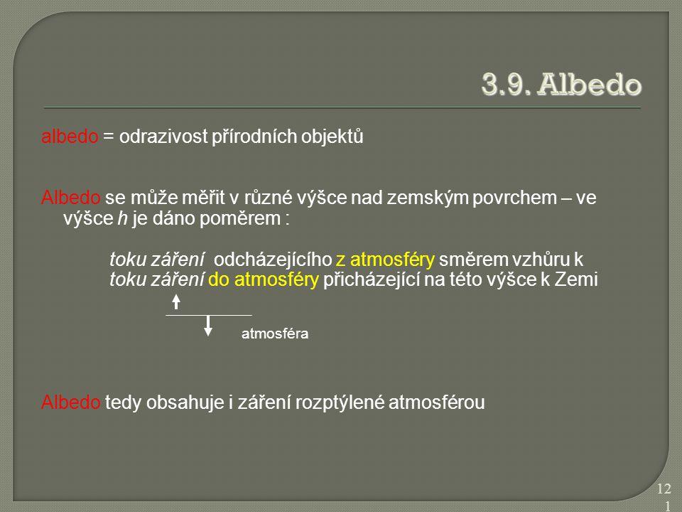 albedo = odrazivost přírodních objektů Albedo se může měřit v různé výšce nad zemským povrchem – ve výšce h je dáno poměrem : toku záření odcházejícíh
