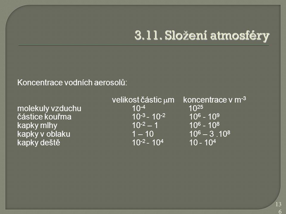 Koncentrace vodních aerosolů: velikost částic  m koncentrace v m -3 molekuly vzduchu 10 -4 10 25 částice kouřma 10 -3 - 10 -2 10 6 - 10 9 kapky mlhy