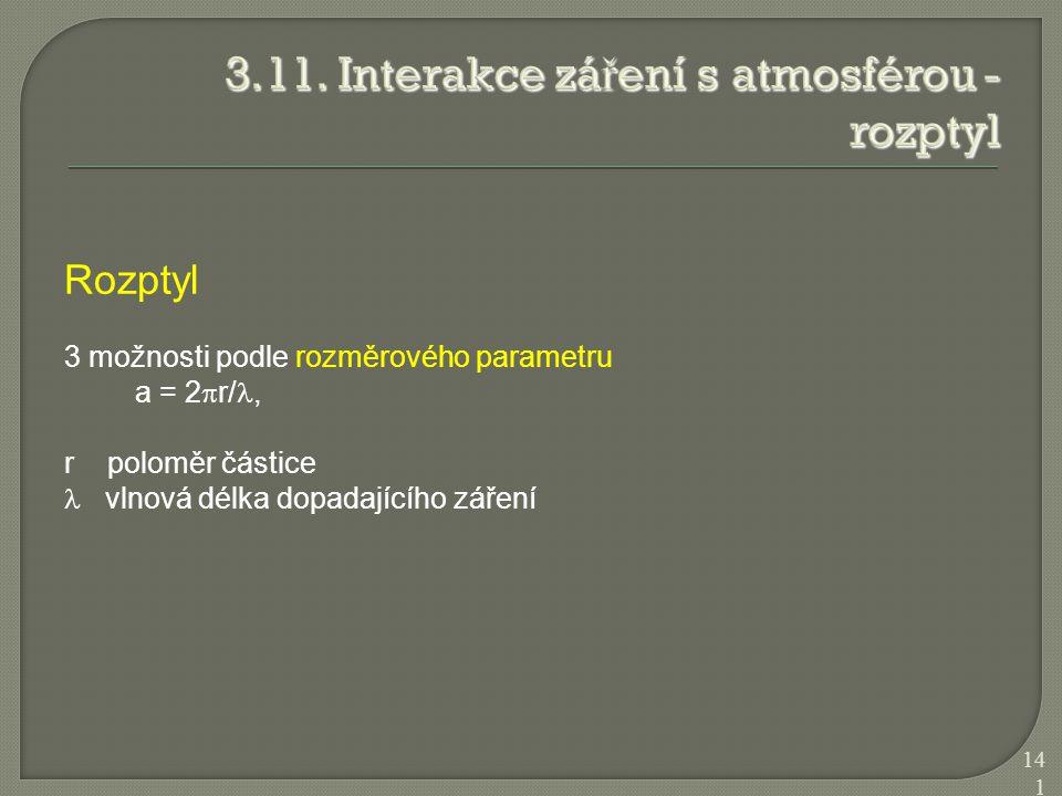 Rozptyl 3 možnosti podle rozměrového parametru a = 2  r/, r poloměr částice vlnová délka dopadajícího záření 141