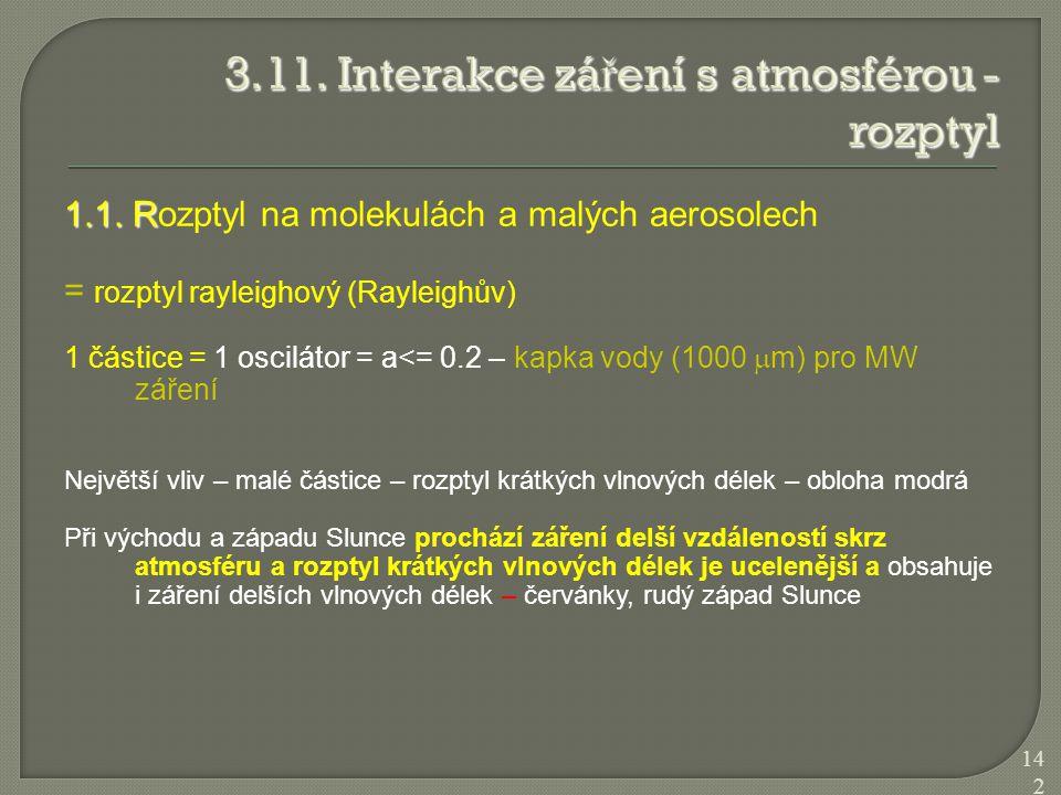 1.1. R 1.1. Rozptyl na molekulách a malých aerosolech = rozptyl rayleighový (Rayleighův) 1 částice = 1 oscilátor = a<= 0.2 – kapka vody (1000  m) pro