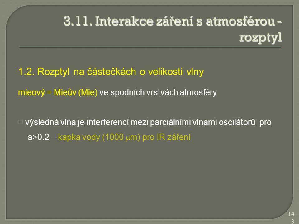 1.2. Rozptyl na částečkách o velikosti vlny mieový = Mieův (Mie) ve spodních vrstvách atmosféry = výsledná vlna je interferencí mezi parciálními vlnam
