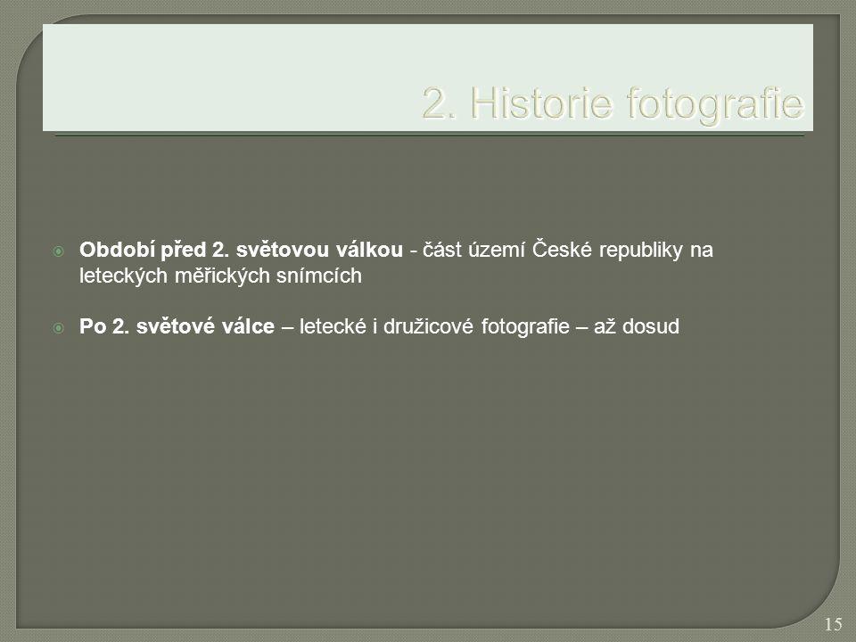  Období před 2. světovou válkou - část území České republiky na leteckých měřických snímcích  Po 2. světové válce – letecké i družicové fotografie –