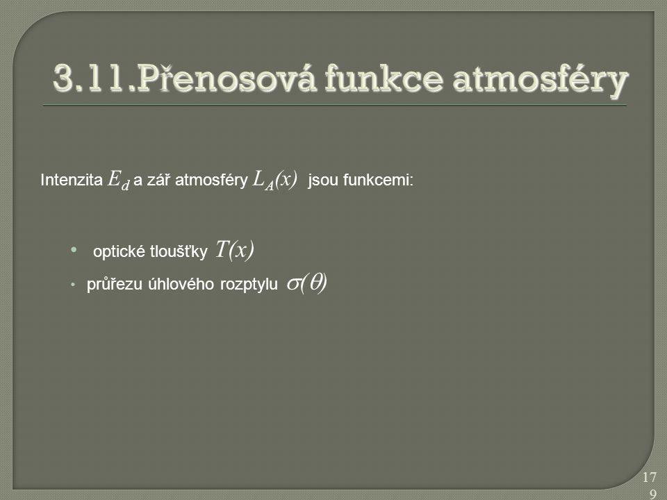 Intenzita E d a zář atmosféry L A (x) jsou funkcemi: optické tloušťky T(x) průřezu úhlového rozptylu  (  ) 179
