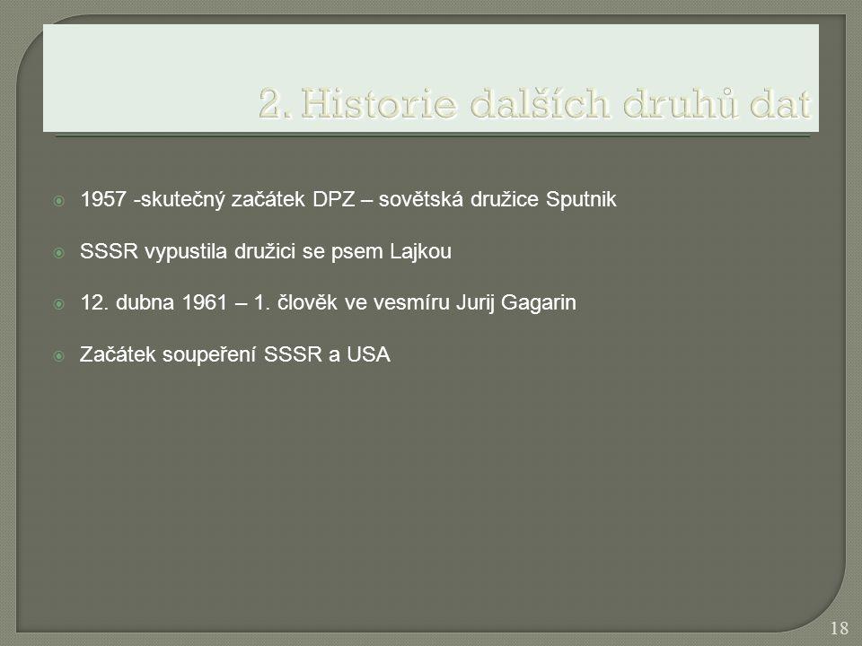  1957 -skutečný začátek DPZ – sovětská družice Sputnik  SSSR vypustila družici se psem Lajkou  12. dubna 1961 – 1. člověk ve vesmíru Jurij Gagarin