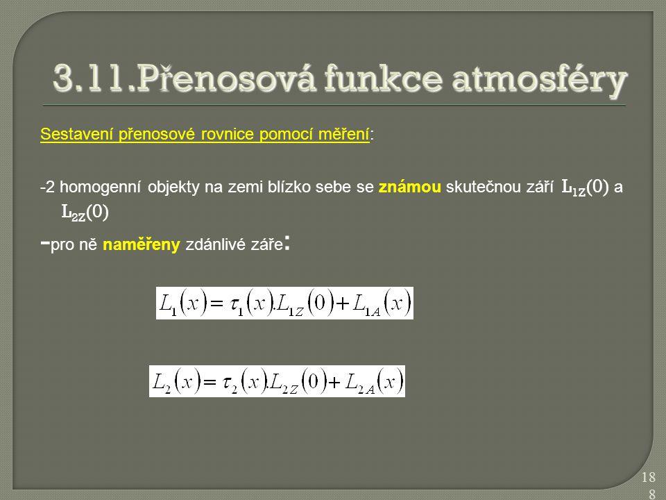 Sestavení přenosové rovnice pomocí měření: -2 homogenní objekty na zemi blízko sebe se známou skutečnou září L 1Z (0) a L 2Z (0) - pro ně naměřeny zdá
