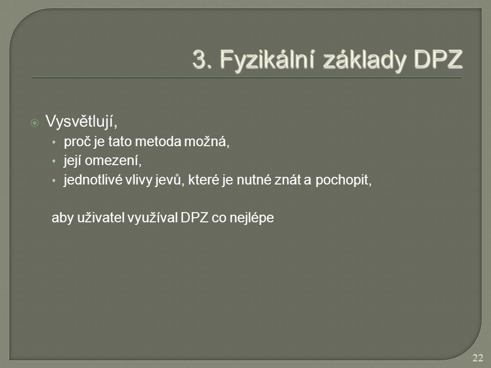  Vysvětlují, proč je tato metoda možná, její omezení, jednotlivé vlivy jevů, které je nutné znát a pochopit, aby uživatel využíval DPZ co nejlépe 22