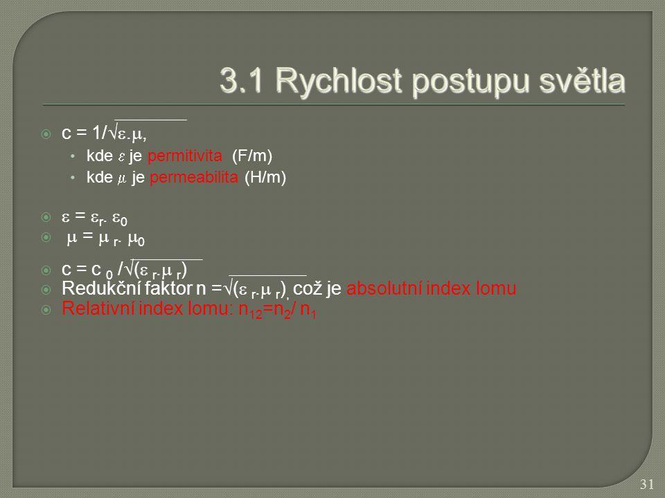  c = 1/ . , kde  je permitivita (F/m) kde  je permeabilita (H/m)   =  r.  0   =  r.  0  c = c 0 /  (  r.  r )  Redukční faktor n =