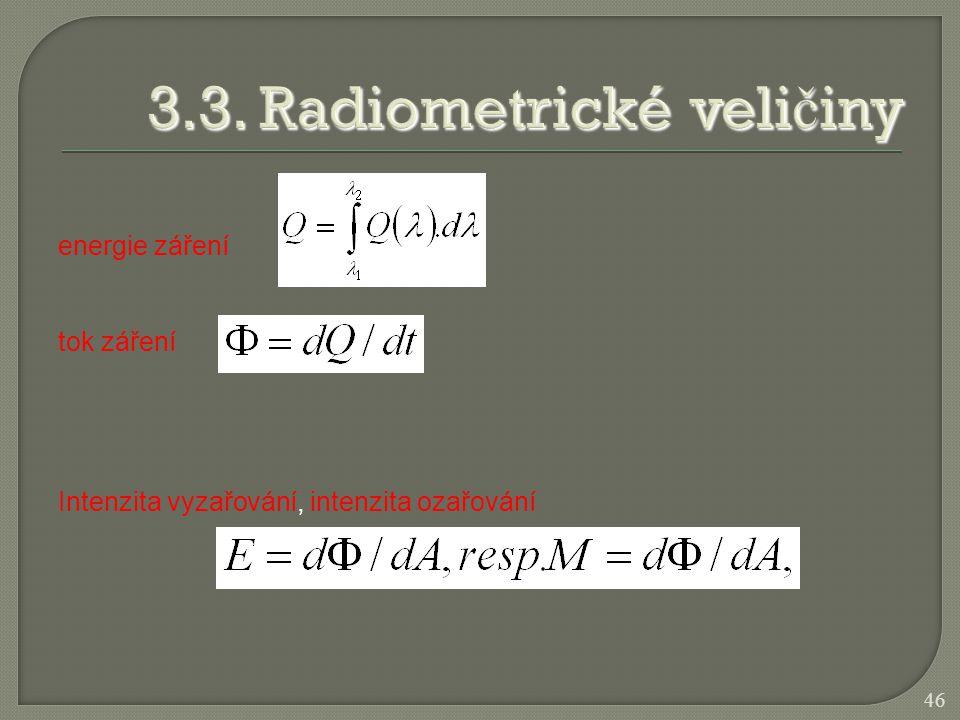 energie záření tok záření Intenzita vyzařování, intenzita ozařování 46
