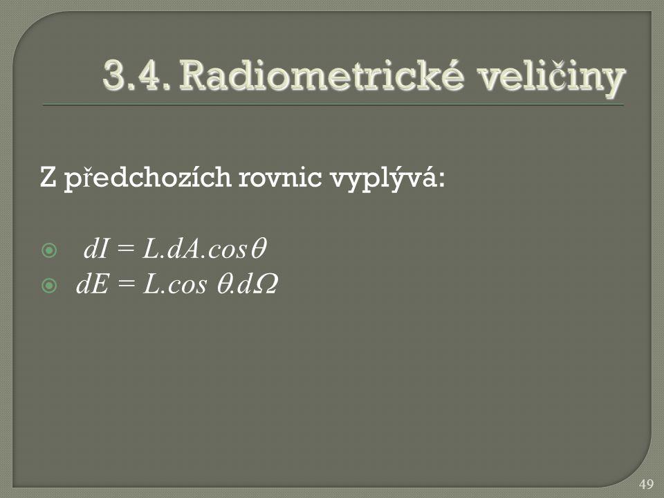 Z p ř edchozích rovnic vyplývá:  dI = L.dA.cos   dE = L.cos .d  49