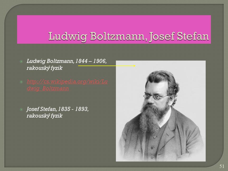 Ludwig Boltzmann, 1844 – 1906, rakouský fyzik  http://cs.wikipedia.org/wiki/Lu dwig_Boltzmann http://cs.wikipedia.org/wiki/Lu dwig_Boltzmann  Jose