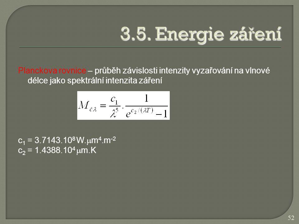 Planckova rovnice – průběh závislosti intenzity vyzařování na vlnové délce jako spektrální intenzita záření c 1 = 3.7143.10 8 W.  m 4.m -2 c 2 = 1.43