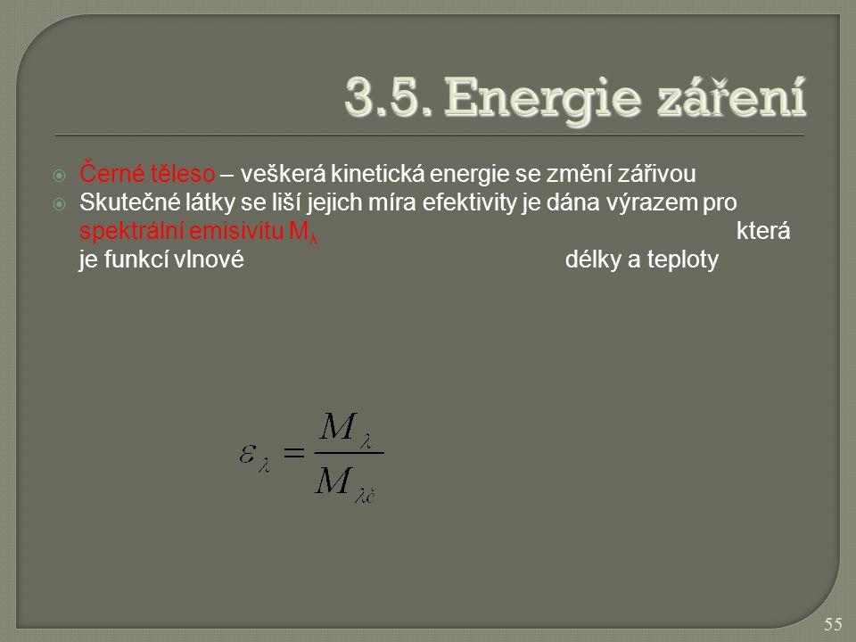  Černé těleso – veškerá kinetická energie se změní zářivou  Skutečné látky se liší jejich míra efektivity je dána výrazem pro spektrální emisivitu M