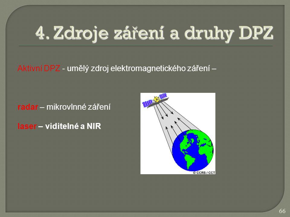 Aktivní DPZ - umělý zdroj elektromagnetického záření – radar – mikrovlnné záření laser – viditelné a NIR 66