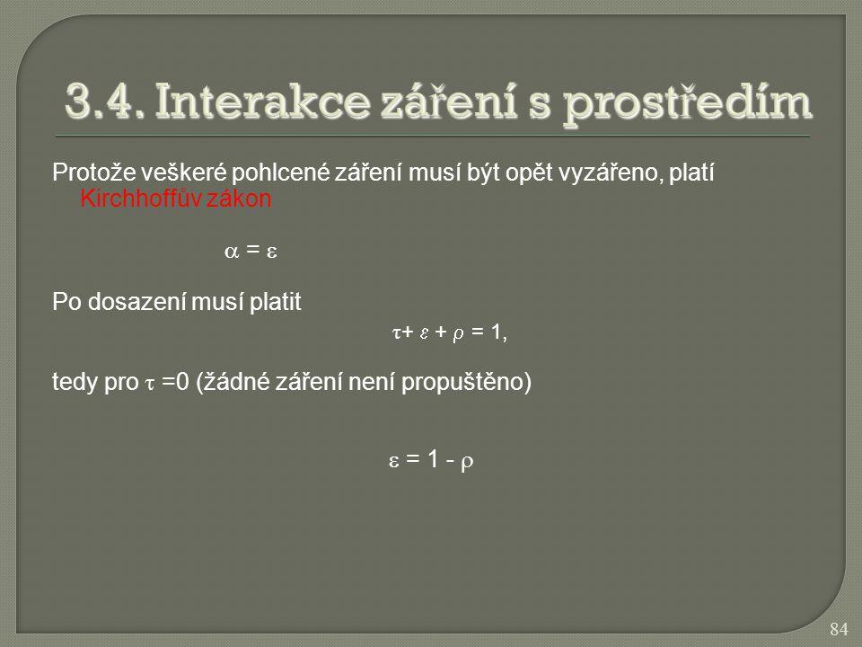 Protože veškeré pohlcené záření musí být opět vyzářeno, platí Kirchhoffův zákon  =  Po dosazení musí platit τ +  +  = 1, tedy pro  =0 (žádné záře