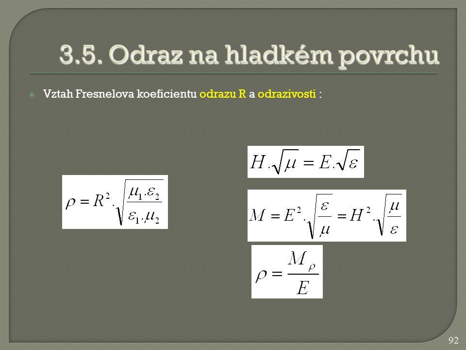  Vztah Fresnelova koeficientu odrazu R a odrazivosti : 92
