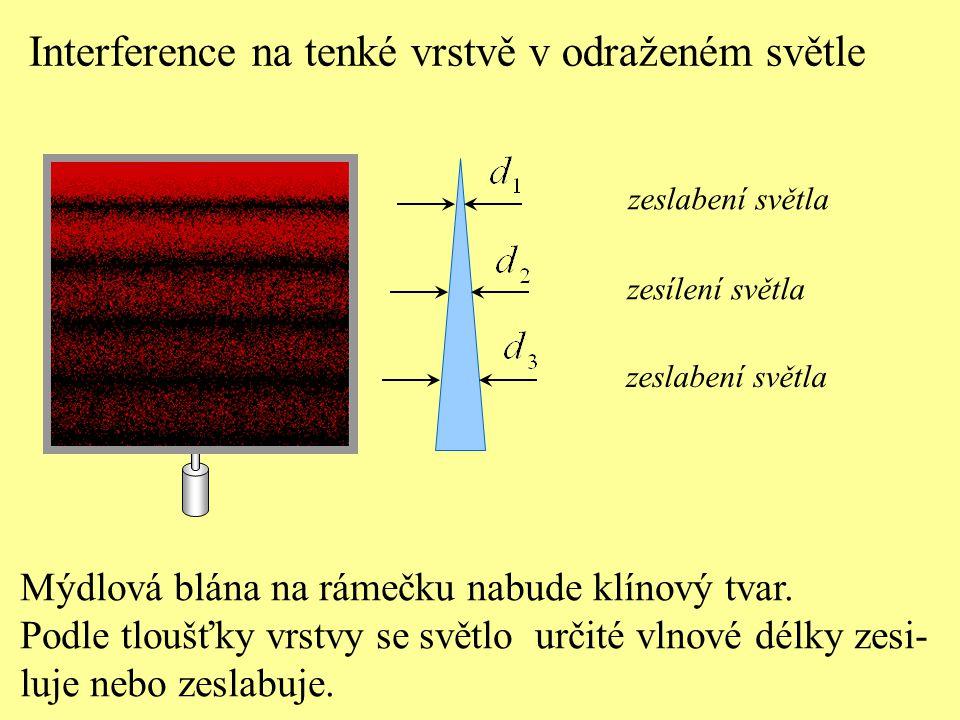 Interference na tenké vrstvě v odraženém světle Mýdlová blána na rámečku nabude klínový tvar. Podle tloušťky vrstvy se světlo určité vlnové délky zesi