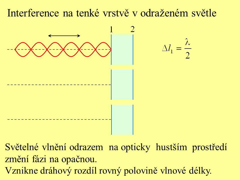 Interference na tenké vrstvě v odraženém světle Světelné vlnění odrazem na opticky hustším prostředí změní fázi na opačnou. Vznikne dráhový rozdíl rov