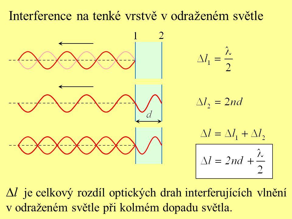 Interference na tenké vrstvě v odraženém světle Podmínky pro zesílení nebo zeslabení: Je-li dráhový rozdíl interferujících vlnění  l roven sudé- mu počtu půlvln, interferencí nastane největší zesílení světla.