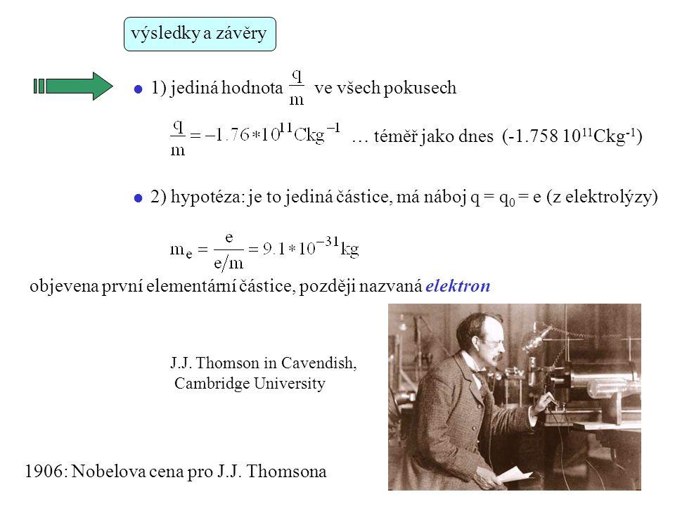  1) jediná hodnota ve všech pokusech výsledky a závěry … téměř jako dnes (-1.758 10 11 Ckg -1 )  2) hypotéza: je to jediná částice, má náboj q = q 0 = e (z elektrolýzy) objevena první elementární částice, později nazvaná elektron 1906: Nobelova cena pro J.J.