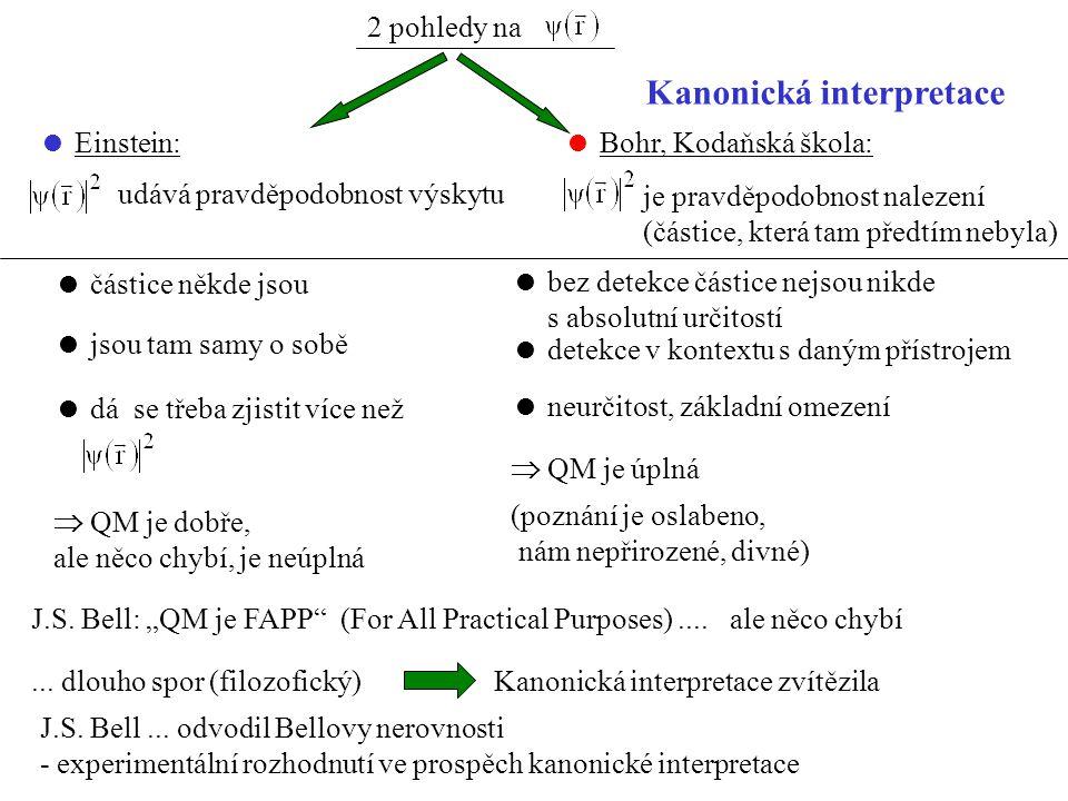 2 pohledy na  Einstein: udává pravděpodobnost výskytu  Bohr, Kodaňská škola: je pravděpodobnost nalezení (částice, která tam předtím nebyla)  částice někde jsou  jsou tam samy o sobě  dá se třeba zjistit více než  QM je dobře, ale něco chybí, je neúplná  bez detekce částice nejsou nikde s absolutní určitostí  detekce v kontextu s daným přístrojem  neurčitost, základní omezení  QM je úplná (poznání je oslabeno, nám nepřirozené, divné) Kanonická interpretace J.S.