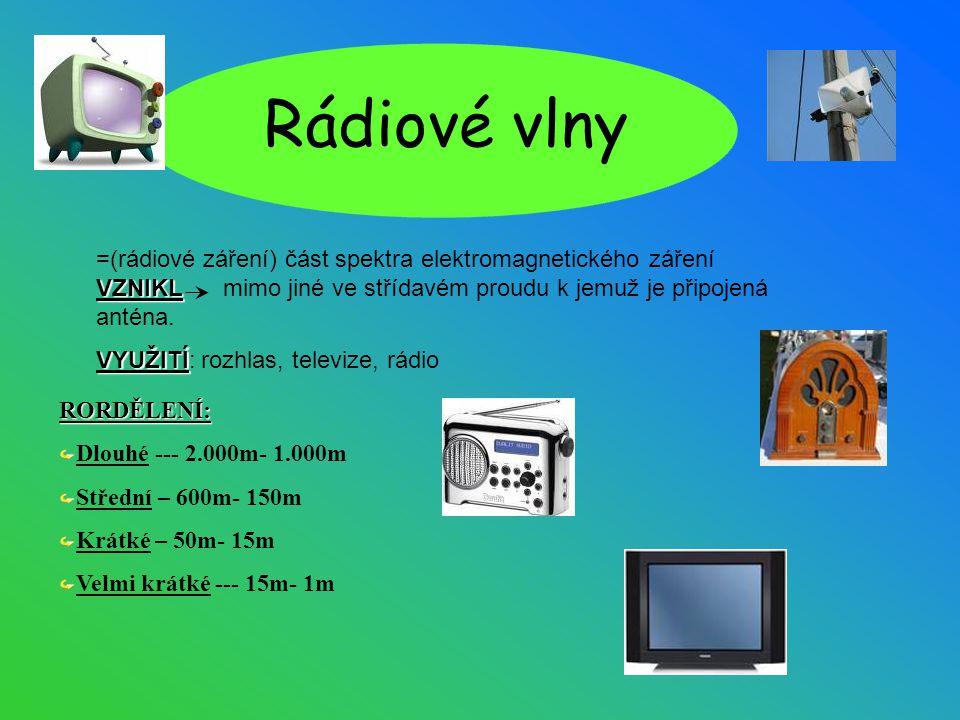 Rádiové vlny VZNIKL =(rádiové záření) část spektra elektromagnetického záření VZNIKL mimo jiné ve střídavém proudu k jemuž je připojená anténa. VYUŽIT