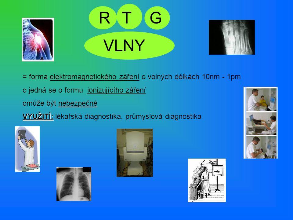 RT VLNY G = forma elektromagnetického záření o volných délkách 10nm - 1pm o jedná se o formu ionizujícího záření omomůže být nebezpečné VYUŽITÍ: lékař