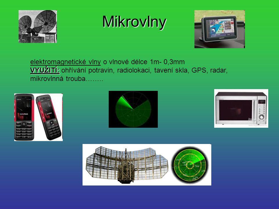 Mikrovlny elektromagnetické vlny o vlnové délce 1m- 0,3mm VYUŽITÍ: VYUŽITÍ: ohřívání potravin, radiolokaci, tavení skla, GPS, radar, mikrovlnná trouba