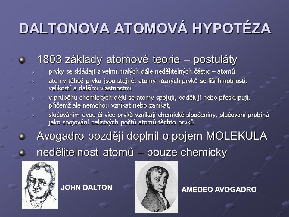 THOMSONŮV PUDINKOVÝ MODEL Joseph J.Thomson – objev e - (zkoumal katodové záření)  fyzika částic lehká částice se záporným elektrickým nábojem  první model atomu (1903) lehká částice se záporným elektrickým nábojem  první model atomu (1903) Thomsonovy představy o struktuře (1897) hlavní část hmotnosti atomu představuje látka s kladným elektrickým nábojem hlavní část hmotnosti atomu představuje látka s kladným elektrickým nábojem hmotnost a kladný elektrický náboj jsou spojitě rozloženy v celém objemu atomu hmotnost a kladný elektrický náboj jsou spojitě rozloženy v celém objemu atomu velmi lehké elektrony jsou umístěny uvnitř kladně nabité látky v rovnovážných polohách velmi lehké elektrony jsou umístěny uvnitř kladně nabité látky v rovnovážných poloháchnedostatky počet elektronů není přesně určen počet elektronů není přesně určen nevysvětluje původ kladného náboje nevysvětluje původ kladného náboje nevysvětluje soudržnost kladného náboje i přes Coulombovy elektrické síly nevysvětluje soudržnost kladného náboje i přes Coulombovy elektrické síly frekvence elektromagnetického záření vypočtené dle modelu nesouhlasí s experimenty frekvence elektromagnetického záření vypočtené dle modelu nesouhlasí s experimenty