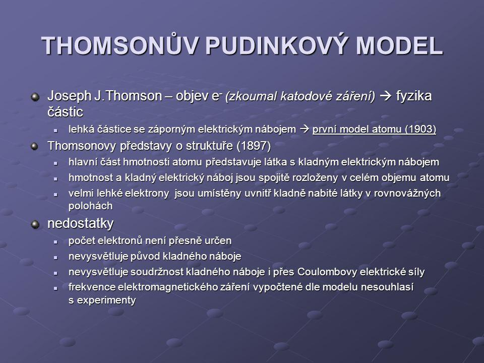 THOMSONŮV PUDINKOVÝ MODEL Joseph J.Thomson – objev e - (zkoumal katodové záření)  fyzika částic lehká částice se záporným elektrickým nábojem  první