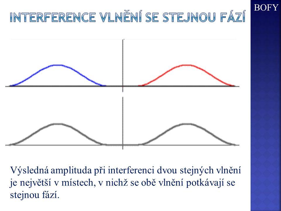 Výsledná amplituda při interferenci dvou stejných vlnění je největší v místech, v nichž se obě vlnění potkávají se stejnou fází.