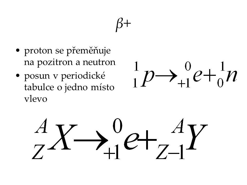 β+β+ proton se přeměňuje na pozitron a neutron posun v periodické tabulce o jedno místo vlevo