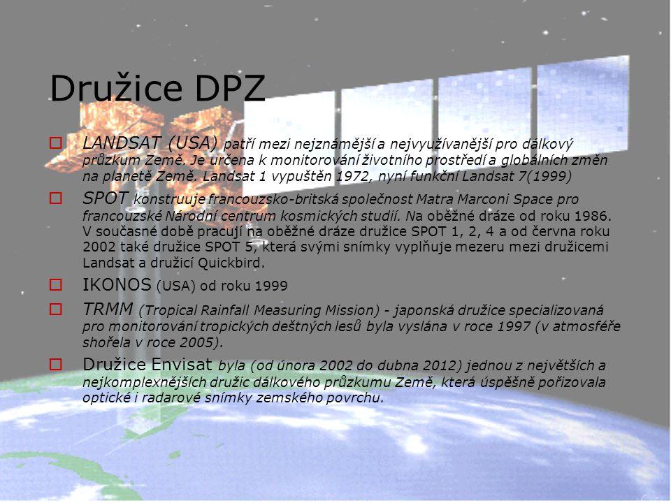 Družice DPZ  LANDSAT (USA) patří mezi nejznámější a nejvyužívanější pro dálkový průzkum Země.