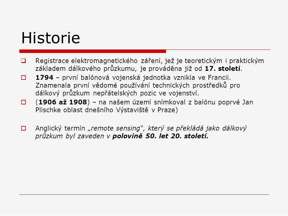 Historie  Registrace elektromagnetického záření, jež je teoretickým i praktickým základem dálkového průzkumu, je prováděna již od 17.