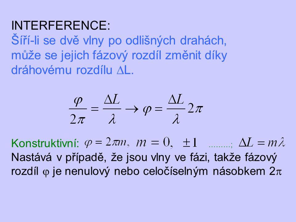 INTERFERENCE: Šíří-li se dvě vlny po odlišných drahách, může se jejich fázový rozdíl změnit díky dráhovému rozdílu ∆L. Konstruktivní: ………; Nastává v p