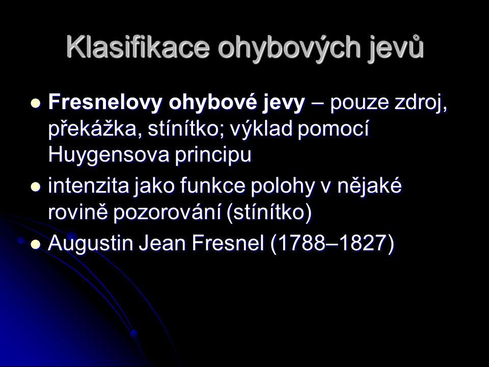 Klasifikace ohybových jevů Fresnelovy ohybové jevy – pouze zdroj, překážka, stínítko; výklad pomocí Huygensova principu Fresnelovy ohybové jevy – pouz